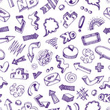 Seamless pattern - infographic doodles Stock Photo