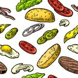 Seamless pattern ingredients burger include cutlet, tomato, cucumber and salad. Vector vintage engraving illustration for poster, menu, web, banner, info Stock Photos