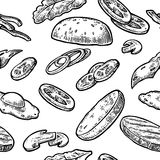 Seamless pattern ingredients burger include cutlet, tomato, cucumber and salad. Vector vintage engraving illustration for poster, menu, web, banner, info Stock Images