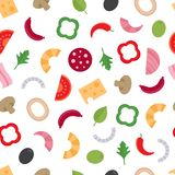 Seamless pattern with the ingredients for pizza. Food background vector illustration