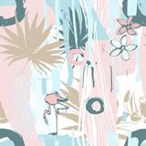 Seamless pattern ink Hand drawn Tropical palm leaves toucan flamingo. Seamless pattern of ink Hand drawn sketch Tropical palm leaves with toucan and flamingo Stock Photography