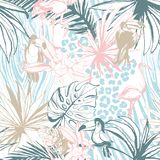 Seamless pattern ink Hand drawn Tropical palm leaves birds animals vector illustration