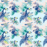 Seamless pattern ink Hand drawn Tropical palm leaves, flowers, birds. Stock Photos