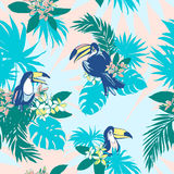 Seamless pattern ink Hand drawn Tropical palm leaves, flowers, birds. Stock Image