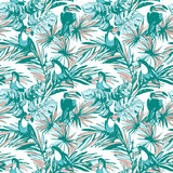 Seamless pattern ink Hand drawn Tropical palm leaves, flowers, birds. Royalty Free Stock Photos