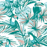 Seamless pattern ink Hand drawn Tropical palm leaves, flowers, birds. Stock Photo
