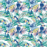 Seamless pattern ink Hand drawn Tropical palm leaves, flowers, birds. Stock Photography