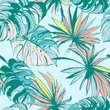 Seamless pattern ink Hand drawn Tropical palm leaves. Vector illustration. Royalty Free Stock Photography