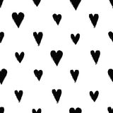 Seamless pattern with ink hearts Royalty Free Stock Images