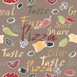 Seamless pattern with ink painted pizza related text Royalty Free Stock Image