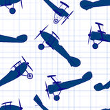 Seamless pattern from ink retro of planes Stock Image