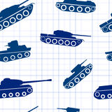 Seamless pattern ink silhouettes of tanks. On exercise book in a cell Stock Photography