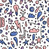 Seamless pattern of innovation in doodle style. stock illustration