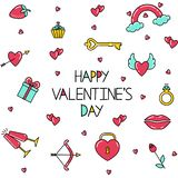 Seamless pattern with an inscription and bright symbols of Valentine`s Day. royalty free illustration