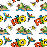 Seamless pattern with Inscription Rio,  mountain and  parrot. Vector Royalty Free Stock Photo