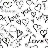 Seamless pattern with inscriptions '' I love you'' and hearts written by hand in black ink Royalty Free Stock Image