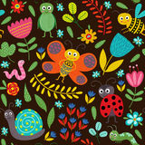 Seamless pattern with insect on black background Stock Photos