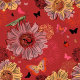 Seamless Pattern with Insect and flowers Royalty Free Stock Photo
