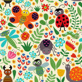 Seamless pattern with insect and plants Stock Photo