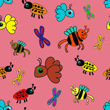 Seamless pattern with insects Stock Photo
