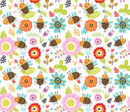 Seamless pattern with insects and flowers. Royalty Free Stock Photos