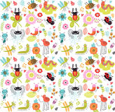 Seamless pattern with insects and flowers. Stock Photos