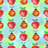Seamless pattern with insects and fruits. Watercolor background with hand drawn lady bugs and strawberries. Royalty Free Stock Photos