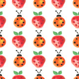 Seamless pattern with insects and fruits. Watercolor background with hand drawn lady bugs and strawberries Royalty Free Stock Photography