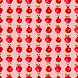 Seamless pattern with insects and fruits. Watercolor background with hand drawn lady bugs and strawberries. Stock Image