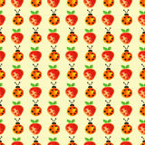 Seamless pattern with insects and fruits. Watercolor background with hand drawn lady bugs and strawberries. Royalty Free Stock Images