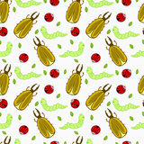 Seamless pattern with insects Stock Photos