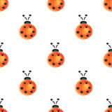 Seamless pattern with insects. Watercolor background with hand drawn ladybugs. Stock Photography