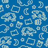 Seamless pattern - Insomnia. Seamless vector pattern with sheep jumping over a fence vector illustration