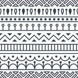 Seamless pattern inspired by scandinavian, finnish folk art. Nordic black and white monochrome background. Repeated. Decoration, texture for fabric design Stock Image