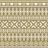 Seamless pattern inspired by scandinavian, finnish folk art. Nordic gold and white background. Repeated decoration. Geometric line texture for fabric design Royalty Free Stock Images