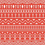 Seamless pattern inspired by scandinavian, finnish folk art. Nordic red and white monochrome background. Repeated. Decoration, texture for fabric design Royalty Free Stock Photography