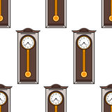 Seamless pattern with interior, grandfather clock. Flat colored illustration Royalty Free Stock Image