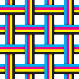 Seamless pattern with intersecting cmyk ribbons Royalty Free Stock Image