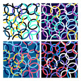 Seamless pattern of interwoven rings. Vector illustration. Bright multi-colored ring set royalty free illustration