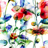 Seamless pattern with Ipomea and Bell flower flowers illustratio Stock Photo