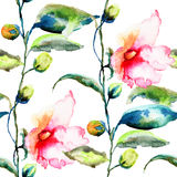 Seamless pattern with Ipomea flowers illustration Royalty Free Stock Photos
