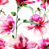 Seamless pattern with Ipomea and Peony flowers illustration Royalty Free Stock Images