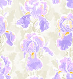 Seamless pattern with iris Royalty Free Stock Photo