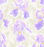Seamless pattern with iris vector illustration