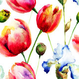 Seamless pattern with Iris and Tulips flowers Royalty Free Stock Photos