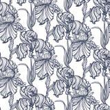Seamless pattern Irises Art Nouveau Stock Photography
