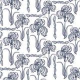 Seamless pattern Irises Art Nouveau Stock Images