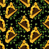 Seamless pattern with irish harp Stock Images