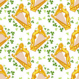 Seamless pattern with irish harp Royalty Free Stock Photo