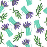 Seamless pattern with iron jug with flowers bouquet of lavender and leaves. Marker illustration. Flora and plants Stock Image
